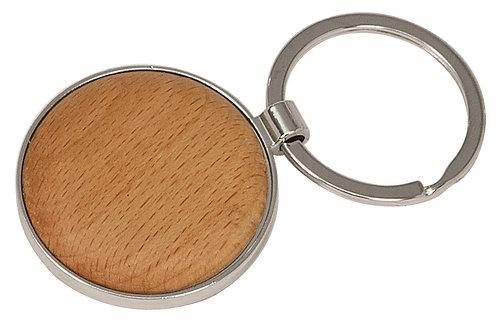Silver/Wood Round Keychain
