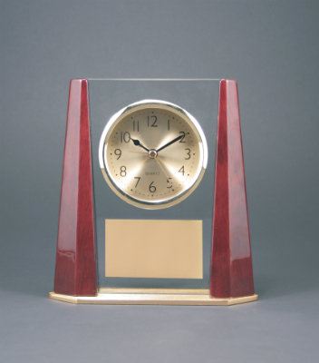 Rosewood Finish Clock with Bevel Columns