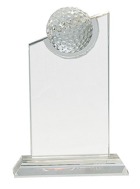 Clear Crystal with Inset Crystal Golf Ball on Clear Base