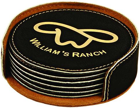 Round Leatherette Coaster Set