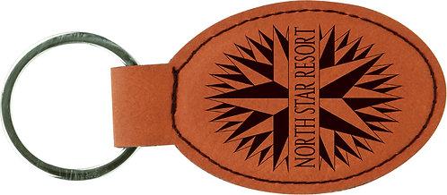 Oval Leatherette Keychain