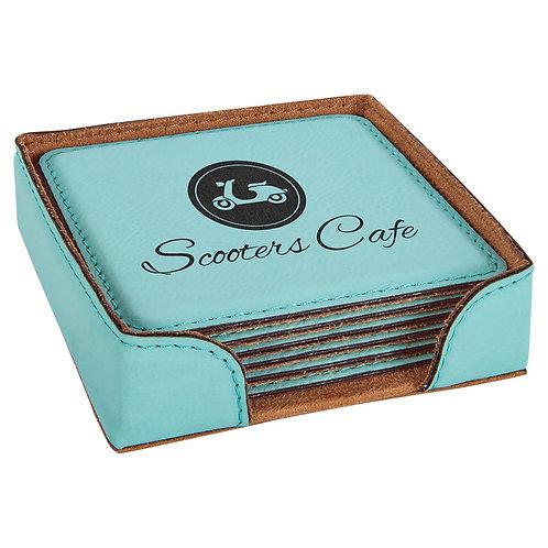 Square Leatherette Coaster Set
