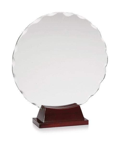 Round Scallop Glass on Cherrywood Base
