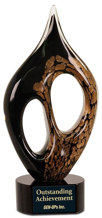 Black/Gold Coral Art Glass