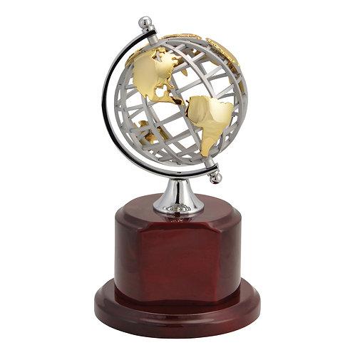 Metal Globe on Rosewood Base