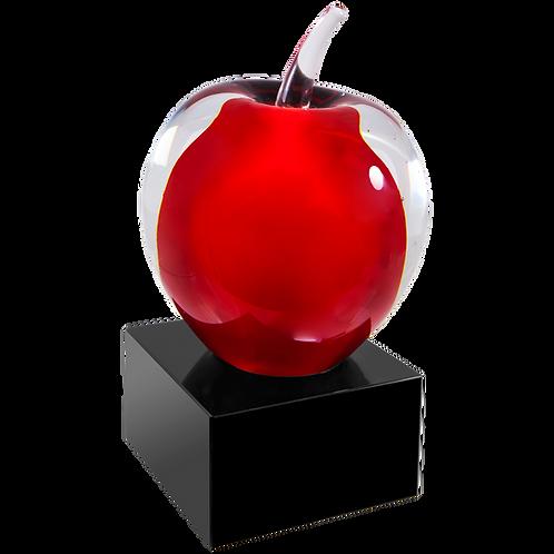 Red Apple Art Glass on Black Base