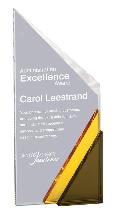 Peak Crystal Award with Blue Slant Base