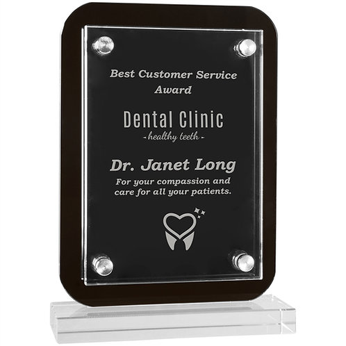Black Floating Glass Stand-up Plaque