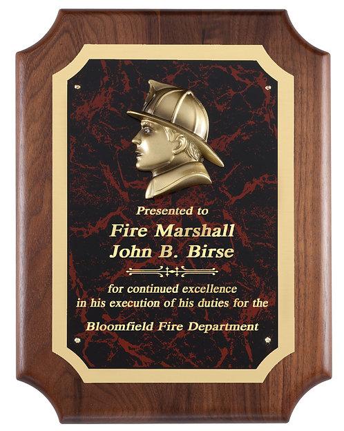 Genuine Walnut Plaque with Fireman Head