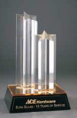 Double Star Column Acrylic with Gold/Black Base