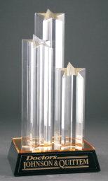 Triple Star Column Acrylic with Gold/Black Base