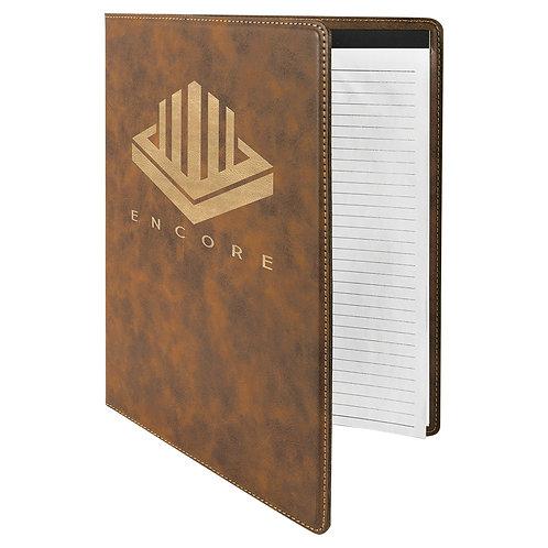Large Leatherette Portfolio with Notepad