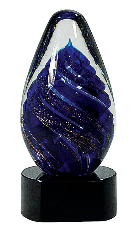 Blue Tear Drop Art Glass