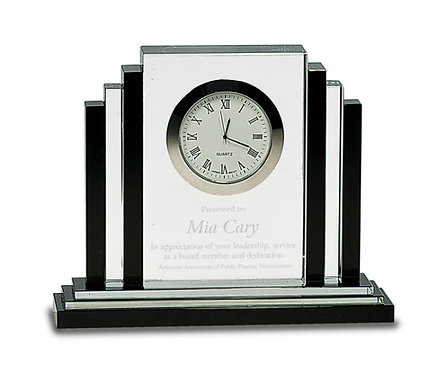 Clear & Black Premier Crystal Clock