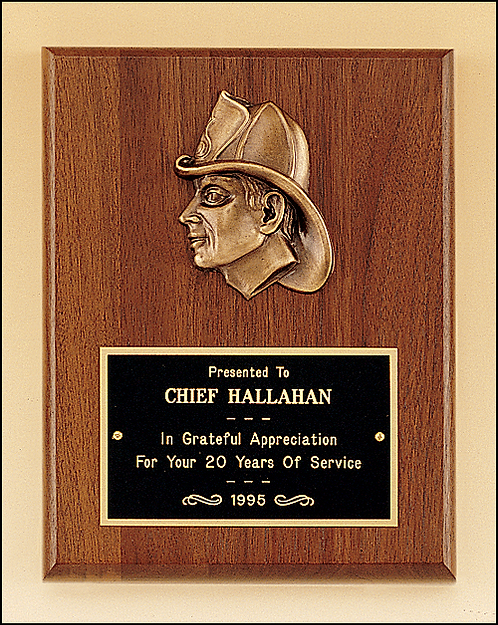Genuine Walnut Fireman Plaque