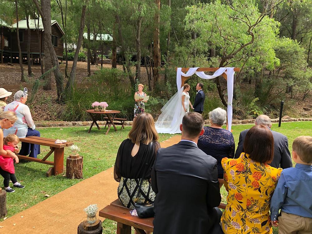 Wedding ceremony in a peaceful bush location