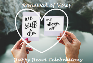 Hand holding Vow Renewal cards