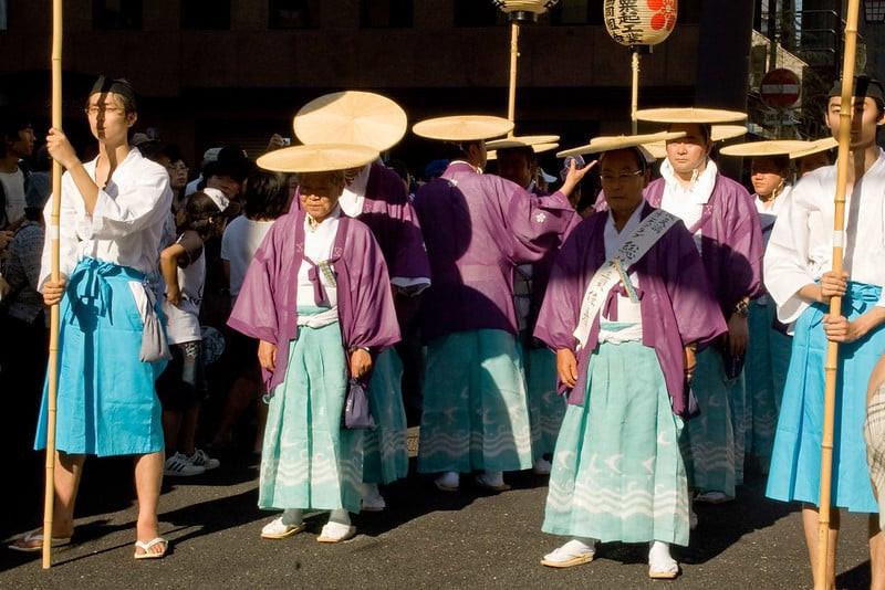 Persiapan perayaan Tenjin Matsuri
