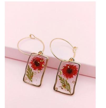 Floral Pattern Drop Earrings