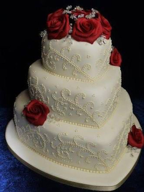 Princess White Heart Tier Cake