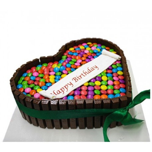 Kitkat and Gems Love Cake