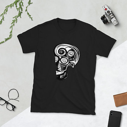 Black and White Skull artwork by Xavier Dalencour Short-Sleeve Unisex T-Shirt