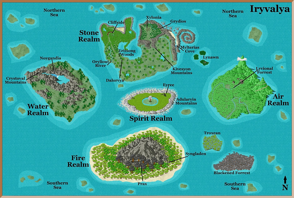Map with cities islands realms seas N di