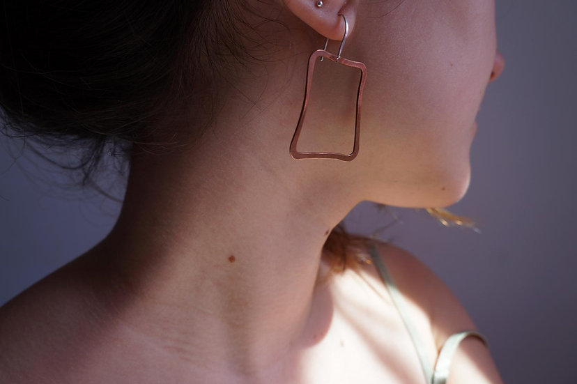 SILVER SQUARE EARRINGS Silver hammered Boho