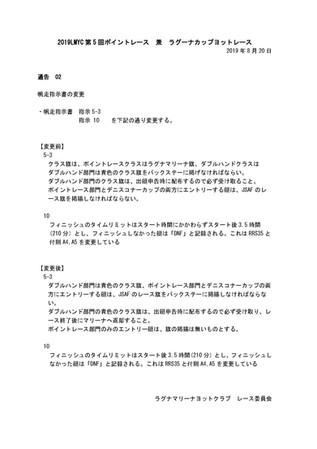ラグーナカップヨットレース帆走指示書変更通知02