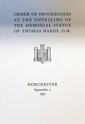 Order of Proceedings at the Unveiling of the Memorial Statue of Thomas Hardy