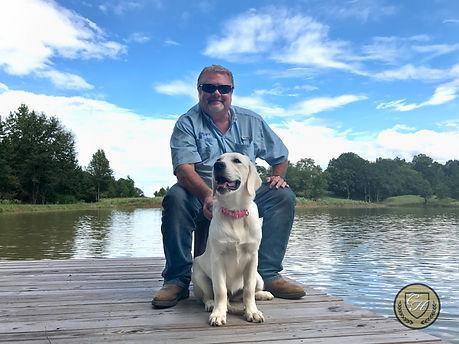 English golden retriever puppy man