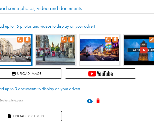 Photos, videos and documents