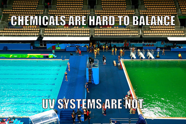 Blue olympic pool/green olympic pool - Chemicals are hard to balance; UV systems are not