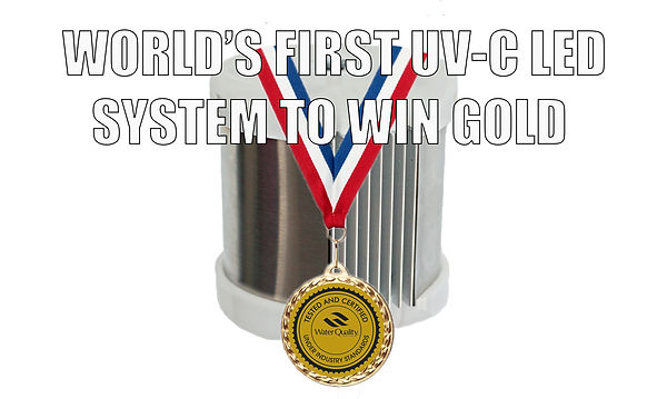 PearlAqua with Water Quality medal and ribbon. World's first UV-C LED system to win gold
