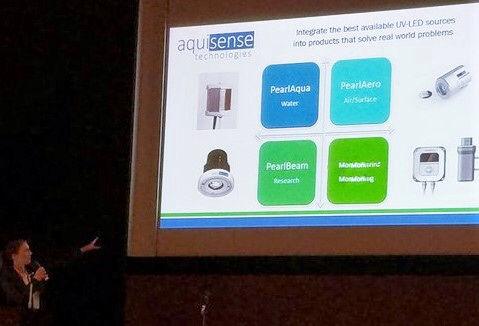 Jennifer presenting technology during IUVA Symposium in Japan