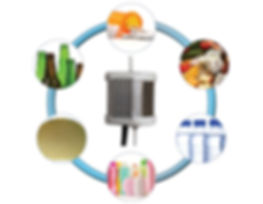 Chart demonstrating the various applications for the PearlAqua including: pharmaceuticals, food safety, bottling, cosmetics, and microelectronics.