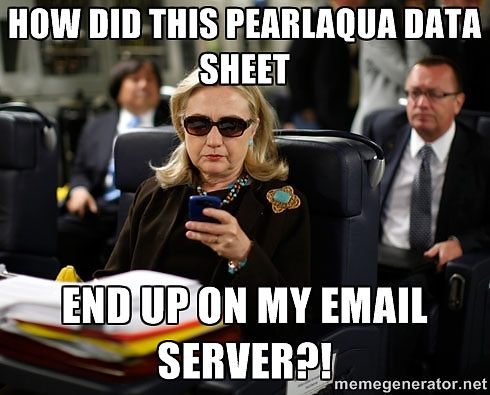 Hillary phone meme - PearlAqua data sheet on her email server