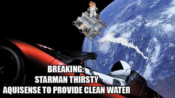 SpaceX car in space and PearlAqua flying to provide clean water