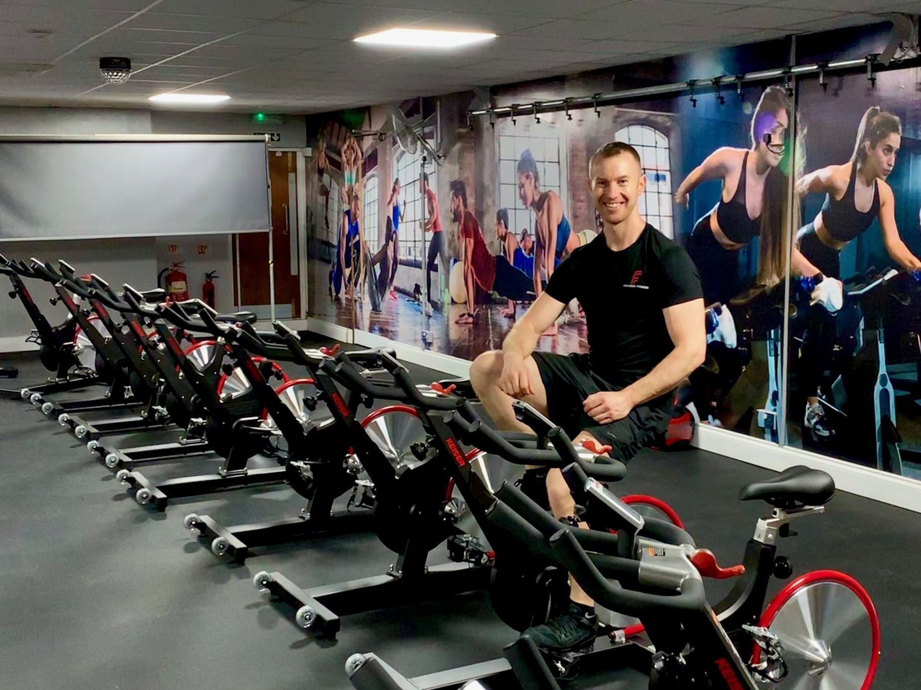 Aaron with Keiser Spin Bikes