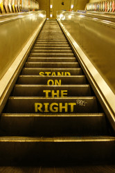 Stand on the right.
