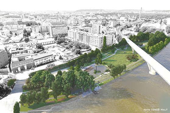 park u vody, holešovice, vltava, urbanismus, krajinářská architektura