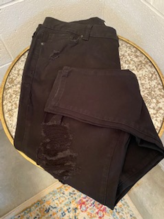 Curvy Distressed Black Jeans