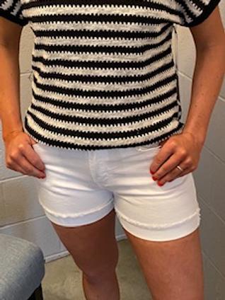 White Cuffed Shorts