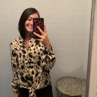 Cheetah Print Tie Front Blouse