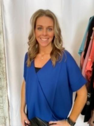 Woven Blue Drape Front Blouse