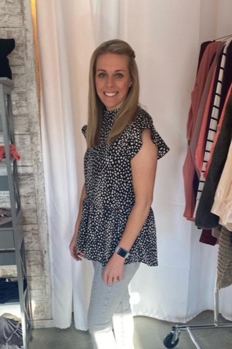Leopard Flutter Sleeve Top