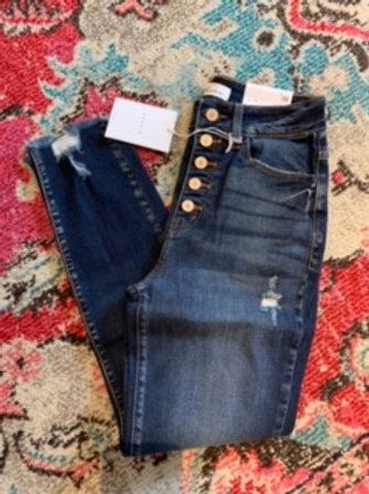 KanCan Distressed Denim Ankle Cut Jeans