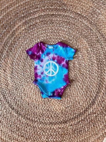 Peace sign - Tie Dye - Short Sleeve Bodysuit