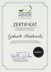Zertifikat_Plantbased Chef & Nutritionis