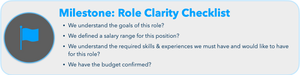 Milestone: Role Clarity Checklist  We have a clearly written position/job description?  We understand the goals of this role?  We defined a salary range for this position?  We understand the required skills & experiences we must have and would like to have for this role?  We have the budget confirmed?